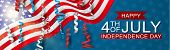 4th Of July United States National Independence Day Celebration Banner With Blue, Red, And White Con poster