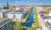 Beautiful Aerial View Of Copenhagen Skyline From Above, Nyhavn Historical Pier Port And Canal With C poster