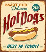pic of wieners  - Vintage Hot Dogs Metal Sign  - JPG