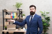 Man Bearded Top Manager Boss In Office. Business Career. Start Own Business. Business Man Formal Sui poster