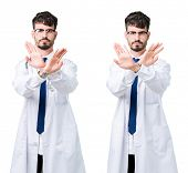 Collage of young doctor man wearing medical coat Rejection expression crossing arms and palms doing  poster