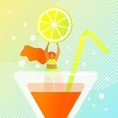 Fresh Juicy Summer Cocktail Vector Illustration. Foreground An Orange Drink In Glass Container With  poster