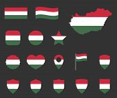 Hungary Flag Icons Set, Symbols Of The Flag Of Hungary poster