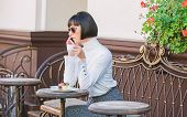 Woman Attractive Elegant Brunette Spend Leisure Cafe Terrace Background. Pleasant Time And Leisure.  poster
