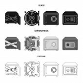 Isolated Object Of Safe And Open Symbol. Collection Of Safe And Container Vector Icon For Stock. poster