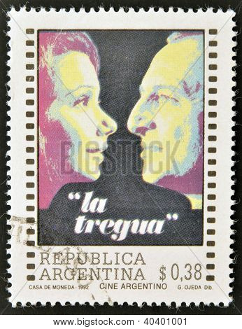 A stamp printed in Argentina dedicated to cinema shows poster for the film