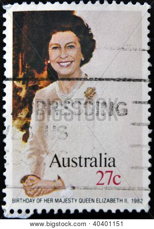 A stamp printed in Australia shows Birthday of her majesty Queen Elizabeth II