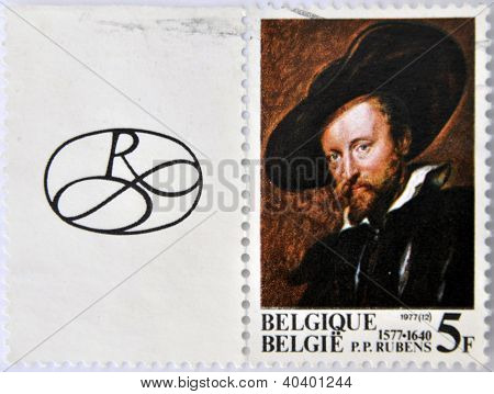 a stamp printed in Belgium shows Peter Paul Rubens Flemish painter Self-portrait