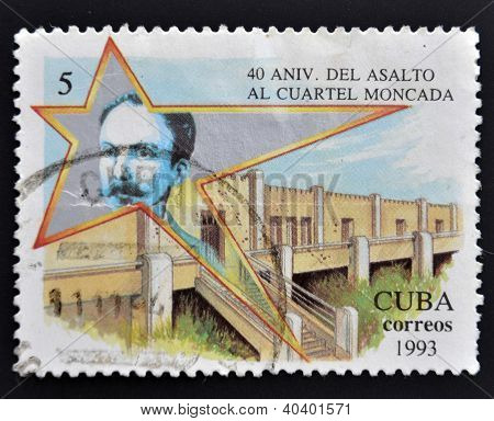 a stamp printed in Cuba dedicated to 40 Anniversary of the Assault to the Moncada Barracks