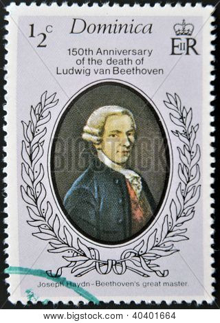 A stamp printed in Dominica shows Ludwig van Beethoven