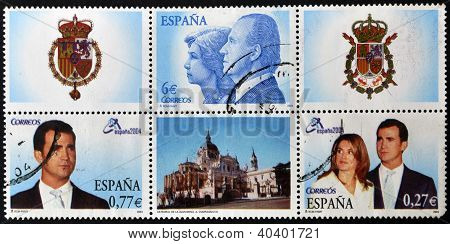 Collection stamps shows Spanish royal family: Juan Carlo I and Sofia Prince Felipe and Letizia Ortiz
