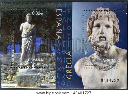 a sculpture and bust of the god Asclepius mythological Ampurias Museum and the Museum of Athens