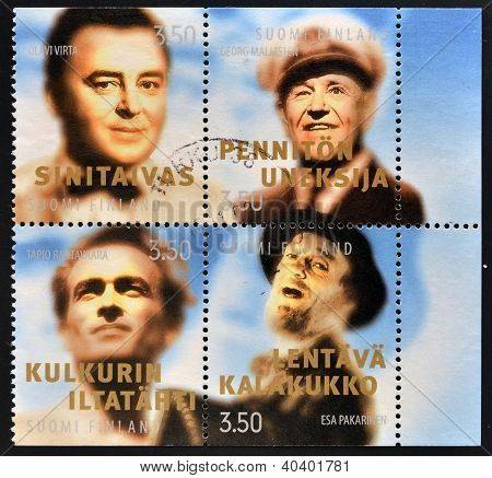 stamps printed in Finland shows various artist