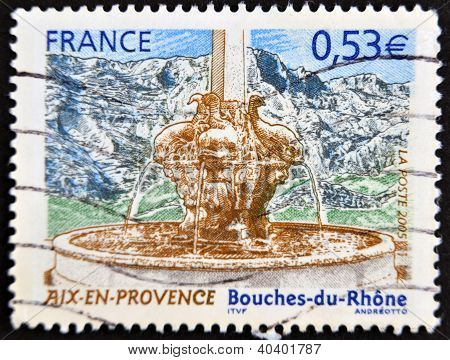 stamp printed in France shows Aix-en-Provence in Bouches du Rhone