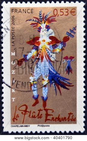 A stamp printed in France shows Opera of Mozart - The Magic Flute