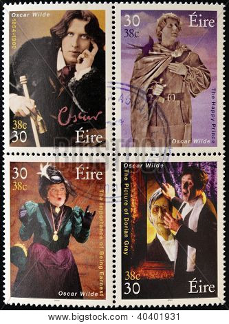 Four stamps dedicated to Oscar Wilde the most famous writer poet and playwright Irish