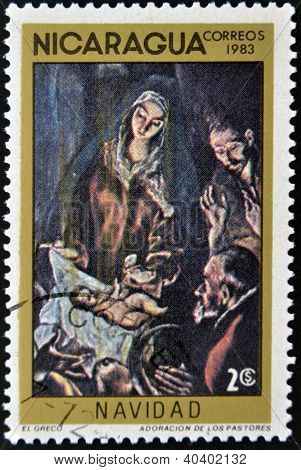 """NICARAGUA - CIRCA 1983: A Stamp printed in NICARAGUA shows the painting """"Adoration the Shepherds"""" by"""