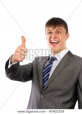 Happy Young Business Man Showing Thumbs Up