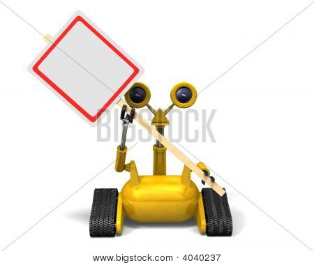 Robot Holding Sign