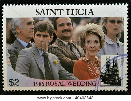 SAINT LUCIA - CIRCA 1986: A stamp printed in Saint Lucia shows a portrait of Prince Andrew of Englan