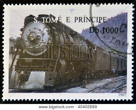 SAO TOME AND PRINCIPE - CIRCA 1997: A stamp printed in Sao Tome shows a train circa 1997