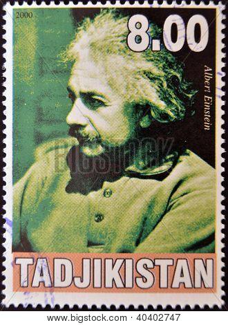 TAJIKISTAN - CIRCA 2000: A stamp printed in Tajikistan shows Albert Einstein circa 2000