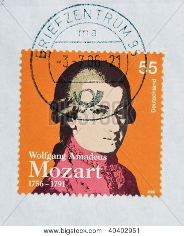 GERMANY - CIRCA 2006: a stamp printed in Germany shows image of Wolfgang Amadeus Mozart circa 2006
