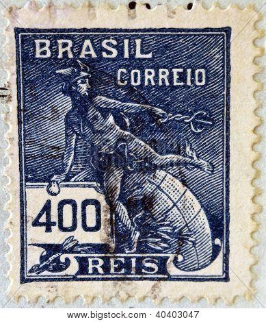 BRAZIL - CIRCA 1920: A stamp printed in Brazil shows Hermes - a symbol of trade (Roman god Mercury)