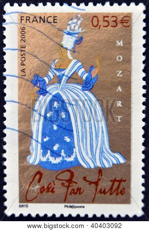 FRANCE - CIRCA 2006: A stamp printed in France shows Opera of Mozart - Cos� fan tutte circa 2006