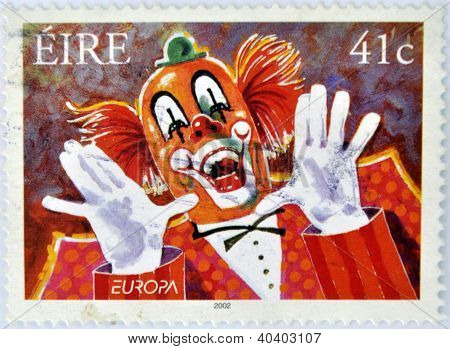 IRELAND - CIRCA 2002: A stamp printed in Ireland shows a clown circa 2002