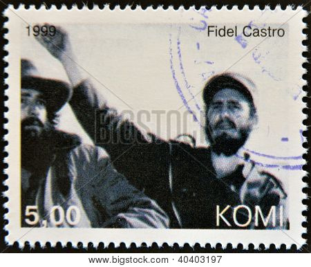 KOMI - CIRCA 1999: A stamp printed in Komi shows Fidel Castro circa 1999