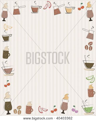 Frame with coffee and cupcakes symbols