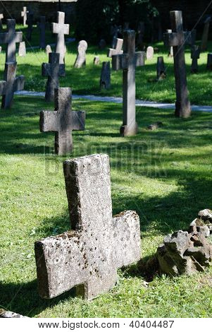 Cross,gravestone in the medieval North European cemetery in Pirita, subdistrict of Tallinn, Estonia