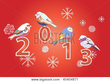 2013 New year red card with cute birds