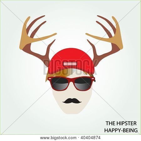 Typical hipster portrait: deer horns, hipster glasses, mustache