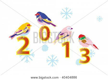 2013 New year card with cute birds