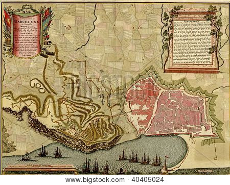 Antique Map Of  Barcelona
