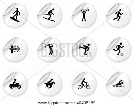 Stickers with games and sport icons