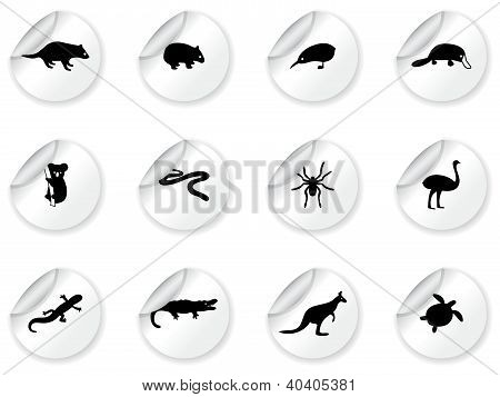 Stickers with australian animal icons