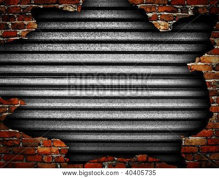 iron wall with damaged brick