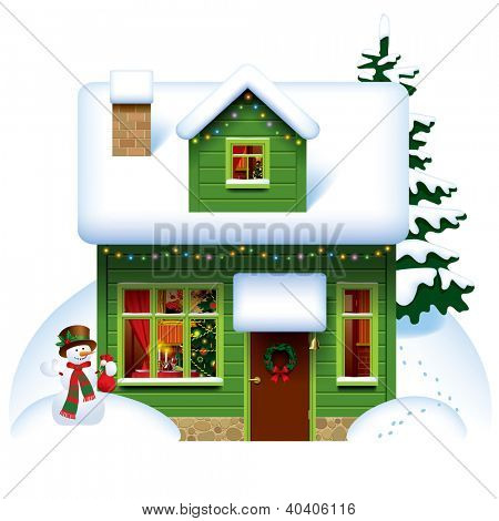 Vector image of the green wooden christmas house covered with snow with snowman and spruce