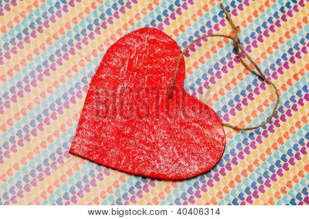 One Wooden Red Heart