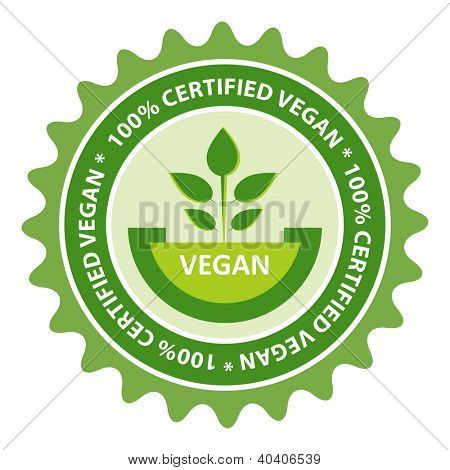 100% Certified Vegan food label.