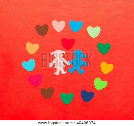 Multicolored Paper Hearths Around Multicolored Paper Boy And Girl With Hearth