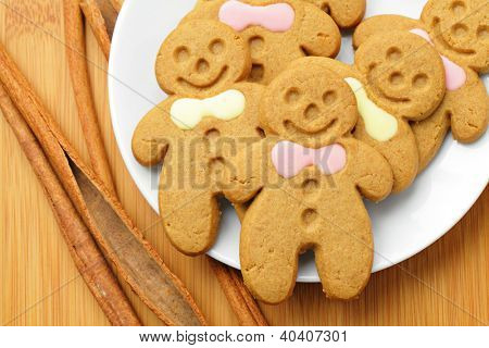 Gingerbread Man over Wood