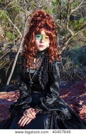 Female vampire in forest