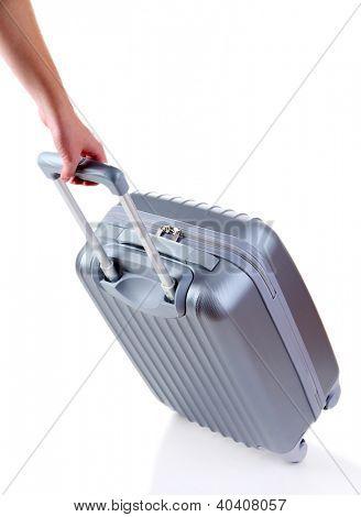 Silber Koffer isoliert auf weiss