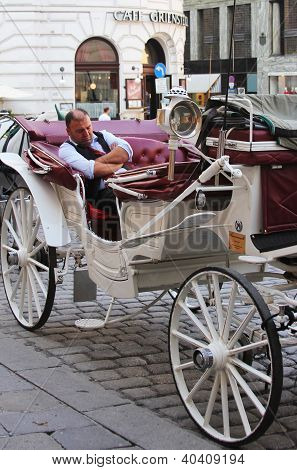 Fiaker carriage driver waiting for tourists in Vienna, Austria