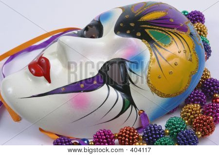 Mardi Gras Mask On White