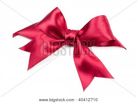big red bow made from silk ribbon